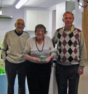 Liam our Chairman on the right and Laurie and Janet stalwarts of the kitchen